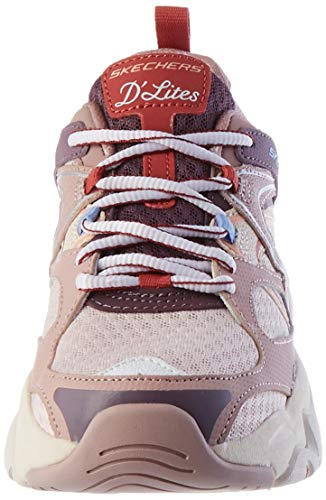 Skechers D'LITES 3.0 Air, Zapatillas Mujer, Malla de Cuero Malva Ribete Azul, 36 EU