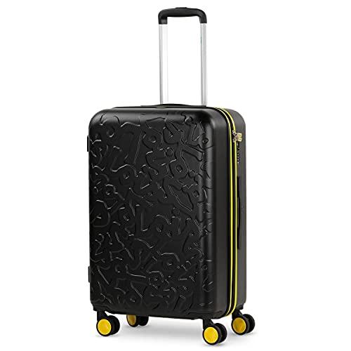 Lois - Maleta de Viaje Mediana 4 Ruedas Trolley. 66 cm Rígida de ABS. Dura Práctica Cómoda Ligera y Bonito Diseño Marca. Candado TSA. 171160, Color Negro