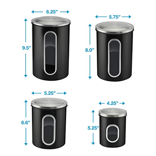 Canister Sets for Kitchen Counter - Matte Black Kitchen Decor and accessories - Sugar Containers for Countertop - Flour Sugar Canister Set - Sugar Jars for Kitchen - Kitchen Canisters Set of 4