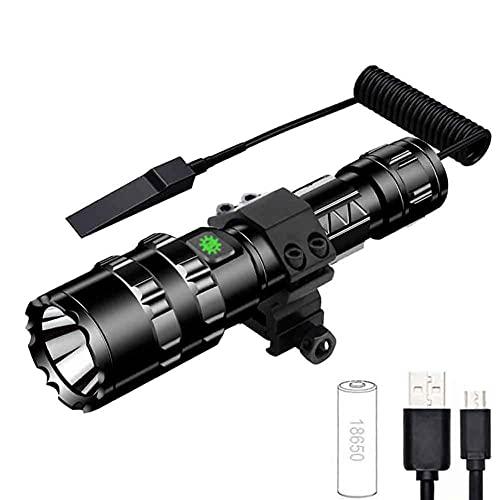 Potente linterna táctica L2 LED de gran potencia, recargable por USB, 1600 lúmenes, IPX4, resistente al agua, con 5 modos, táctica, pequeña linterna