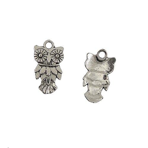 F Fityle 50Pcs Bulk Tibetan Silver Owl Bird Charms Pendants for DIY Jewelry 20x11mm