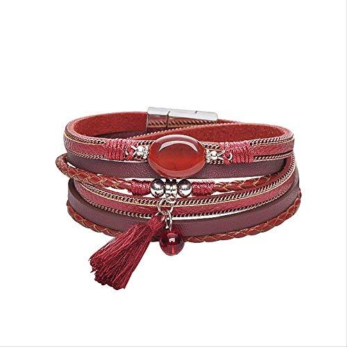 SGRMYS Armband Persönlichkeit mehrschichtige Lederarmband Achat Quaste Magnet Schnalle Damen Armband dunkelrot