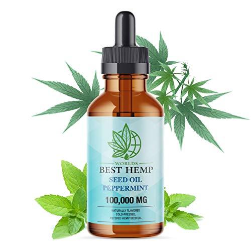 Best Hemp Seed Oil Drops (2OZ / 60 ML) - Peppermint 100,000MG Premium Formula for Pain Relief, Calming, Anti-Inflammatory CBS, Omega 3/6 Organic (100,000MG)