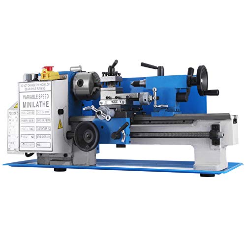 VEVOR Mini Torno de Fresado de Metal 180mm x 350mm, Velocidad Variable 50-2,250 RPM 550W Engranaje de Nylon, Mini Torno de Banco 0,75HP, Fresadora de Velocidad de Husillo Variable