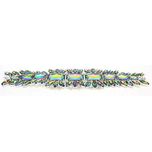 HEEPDD Rhinestones Trims, Crystal Chain Ribbon Craft Decoration Bridal Wedding Dress Sash Belt Applique(Colorful)
