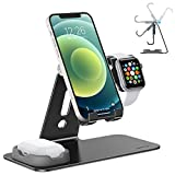 OMOTON Adjustable Apple Watch Stand, Triunity Charging Dock For iWatch, AirPod and...