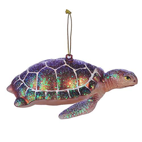 Miicol Swimming Sea Turtle Glass Blown Ornament for Christmas Tree, Purple