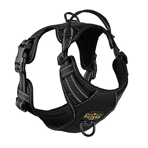 KOLZEA Reflective Dog Harness with Handle,Chest Plate Vest,Adjustable Quick Fit,Easy Walking Non Pulling Front Leash Attachment (XL(Chest 21