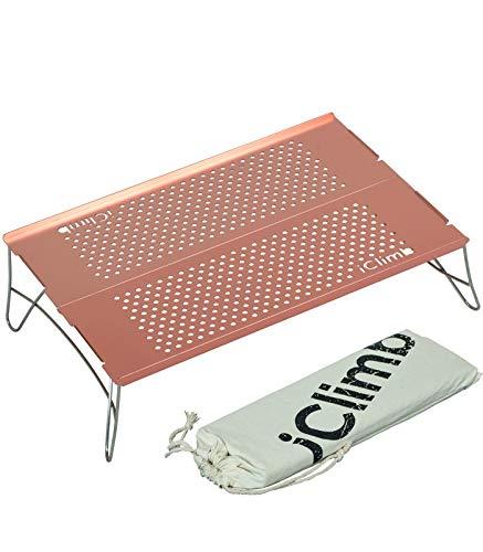 iClimb Mini Solo - Mesa plegable ultraligera compacta para mochilero, camping, senderismo, playa, picnic, color oro rosa - S