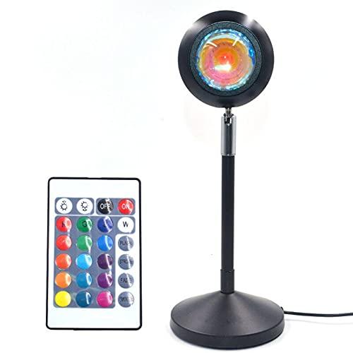 LUDAXUE Proyección de Puesta de Sol Luz LED con Control Remoto Regulable 180 Grados Rotación de rotación de 180 Grados Suelo de Arco Iris con Soporte de Piso Moderno USB Luz Nocturna para Party Movie