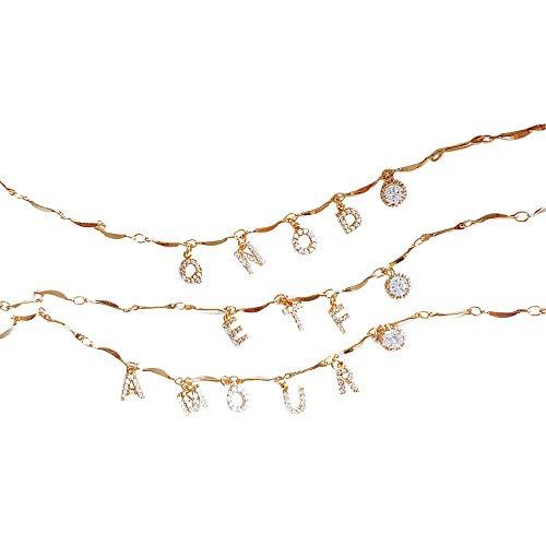 JinYiny Anfängliche Halskette - personalisierte Namenskette AZ Brief Custom Choker einfache Exquisite Anhänger Halskette Legierung Charm Halskette