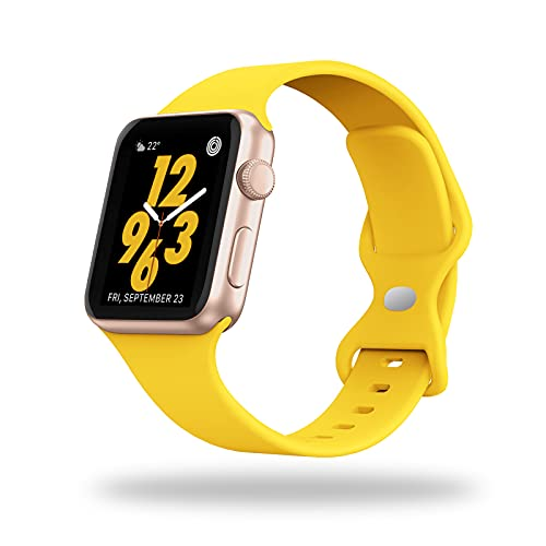STG Sport Watch Band Compatible with Apple Watch Band 38mm 40mm 42mm 44mm, Soft Silicone Replacement Sport Strap Compatible for iWatch SE Series 6/5/4/3/2/1 (42/44mm, Yellow)