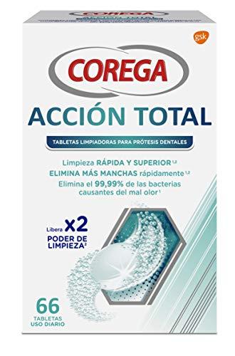 Corega Acción Total Tabletas Limpiadoras para Prótesis Dentales, Férula Dental y Ortodoncia, Uso Diario, 66 Tabletas