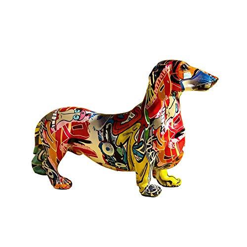 KFGJ Estatua De Perro Dachshund Colorida Creativa DecoracióN De Oficina En Casa ArtesaníA De Resina Escultura De Mano Modelo, ArtesaníA DecoracióN De Oficina En Casa Regalo Pequeño