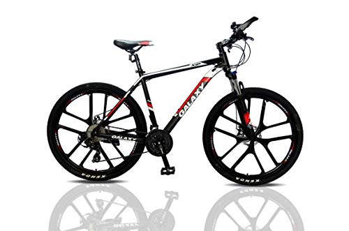 27.5 inch Mountain Bike Galaxy Aluminium Alloy MTB Suspension Mens Bicycle 24 Gears Dual Disc Brake with Hydraulic Lock Out Fork & Hidden Cable Design for Adults Bikes (Black/Red)