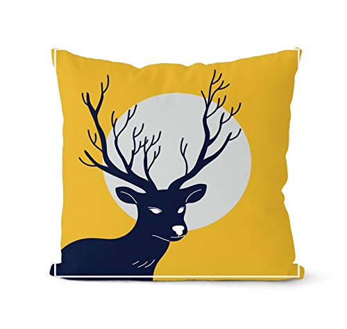 PPMP Nordic yellow cushion cover geometric deer hug pillowcase decorative pillow home hug pillowcase cushion cover A11 45x45cm 2pc