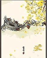 YYZK数字による絵画花の数字による絵画キャンバス上の数字DIY数字絵画風景家の装飾40x50cm(フレームなし)