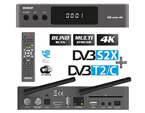 EDISION OS MIO 4K -UHD Linux E2 Combo-Receiver H.265/HEVC (1x DVB-S2X, 1x DVB-T2/C, Multistream, Blind Scan, 2160p, Dual Band Wi-Fi 5G/2.4G, Bluetooth onboard, 2x USB, HDMI, LAN, Linux, Kartenleser)