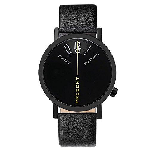 Projects Watches Past, Present, Future Black Edelstahl IP Schwarz Leder Unisex Uhr