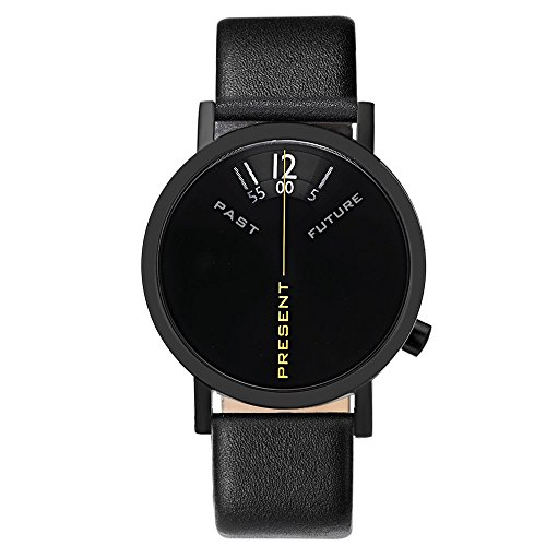 Projects Watches'Past, Present, Future Black' Acciaio IP Nero Pelle Unisex Orologio
