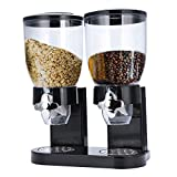 TRUSBER Dual Dry Food Cereal Dispenser Airtight Kitchen Storage Twin Container Dual Controller