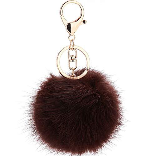 Schlüsselanhänger plüsch Ball Keychain Elegant Plüsch-Kugel Auto-Anhänger Taschenanhänger bommel Pompom Weich Schlüsselring Handtaschenanhänger Dekor (Tief Braun)