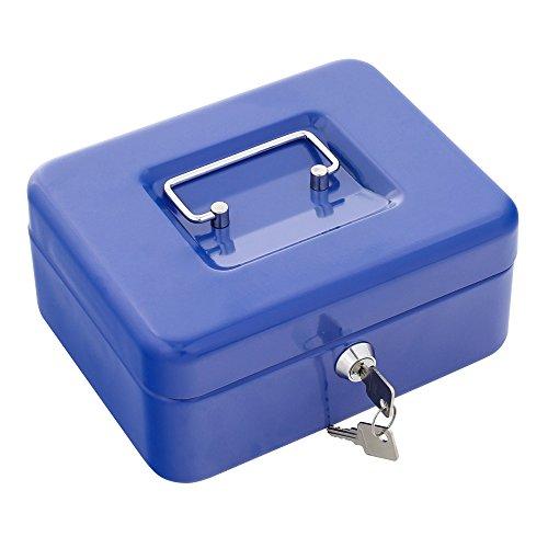 Rottner Geldkassette Traun 2 Blau - Klassisches Modell – Stahl - Geldzählkassette- Kassengeldeinsatz - Zylinderschloss