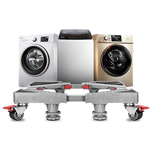 Grandekor Sockel für Waschmaschine verstellbar beweglicher Basis mit 4x2 Räder + 4 Füßen, Waschmaschinen Untergestell Podeste & Rahmen für Trockner & Kühlschrank (40-67cm)