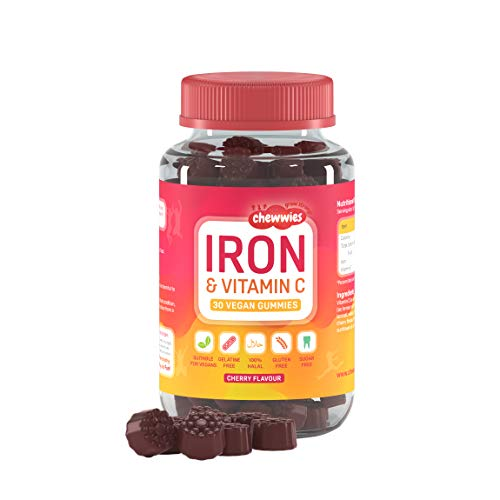 Iron & Vitamin C - Vegan Chewable Gummies - Sugar Free Ferrous Sulfate Iron | Helps Strengthen Your Immune System | 1-Month Supply by Chewwies Vitamins