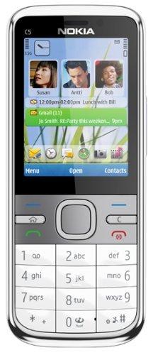 Nokia C5-00 Modell 002X656 (2,2 Zoll Bildschirm , Bluetooth , 5 Megapixel Kamera) Weiß (Generalüberholt)