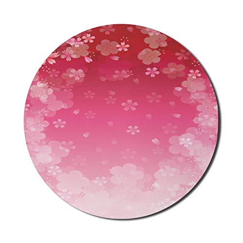 Asiatisches Mauspad für Computer, Kirschpflaumengruß, das Begrüßungskunstwerk natürliche Illustrationen feiert, rundes rutschfestes dickes Gummi-modernes Gaming-Mauspad, 8 'rundes, rotes rosa blasses