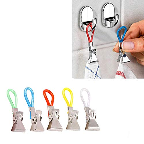 Samoii Durable Tea Towel Hanging Clips Dishcloth Hanger Clip On Hook Loops Hand Towel Hangers 5Pcs Pot Holder Hook Home Travel Hanging Laundry Hooks Clip