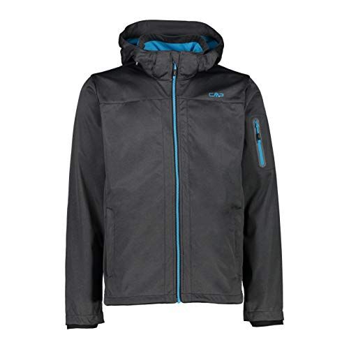 CMP Herren Softshelljacke 39a5027m Jacke, Black Mel-Light Blue, 48 EU