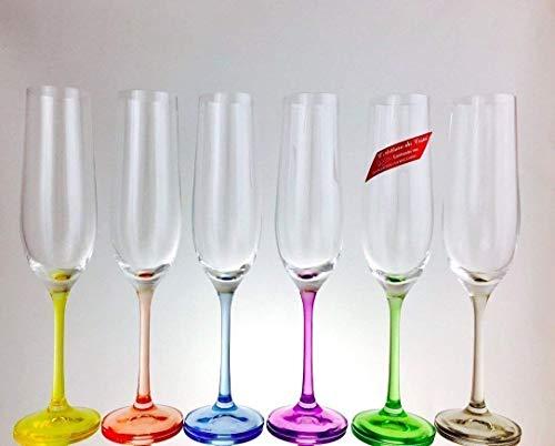 Sektgläser, Handgemachte, Service 6 Kristall Flöten, 19cl, Unterschrieben und gestempelt Cristal Klein 54120 Baccarat, Geschenkidee.