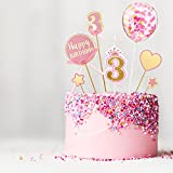 7 Pieces 3 Birthday Cake Topper Pink Cake...