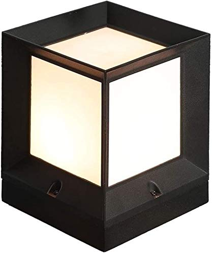 Hines Poste de Luces para Exteriores Cubo Cuadrado clásico Moderno IP55 Impermeable Columna a Prueba de Lluvia Luz Negro Aluminio Metal Patio Jardín Paisaje Decoración Farola