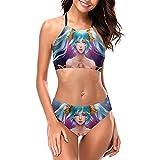Taliyah - Conjunto de bikini halter para mujer con cuello alto y 2 piezas de ropa de playa acolchada
