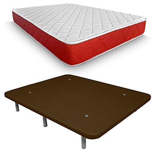Duérmete Online Pack colchón visco elástico Lite Reversible y Base tapizada 3D, Extra-Reforzada, 5 Barras de Refuerzo y válvulas de ventilación con 7 Patas, 150 x 190 cm, Transpirable, Chocolate