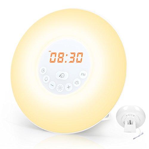 GRDE Wake Up Light Alarm Clock, Sunrise Simulation Snooze Alarm Clock Bedside Night Light with...