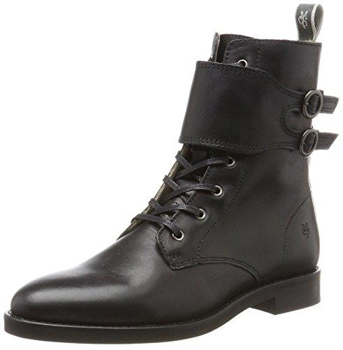 Marc O'Polo Lace Flatheel Bootie 70814226301124, Damen Combat Boots, Schwarz (Black), 38 EU (5 UK)