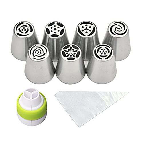 Boquilla para tubo de glaseado ruso para decoración de pasteles y flores rusas (color 1 juego)