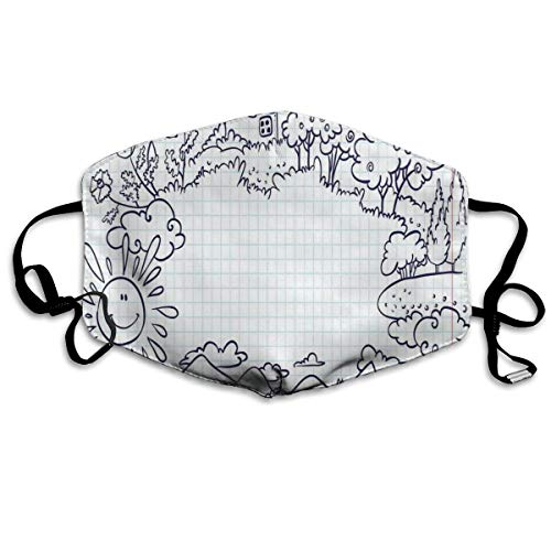 Childish Summer Frame met bloemen mountainbike en smiling SunPrinting Safety Mouth Cover voor volwassenen