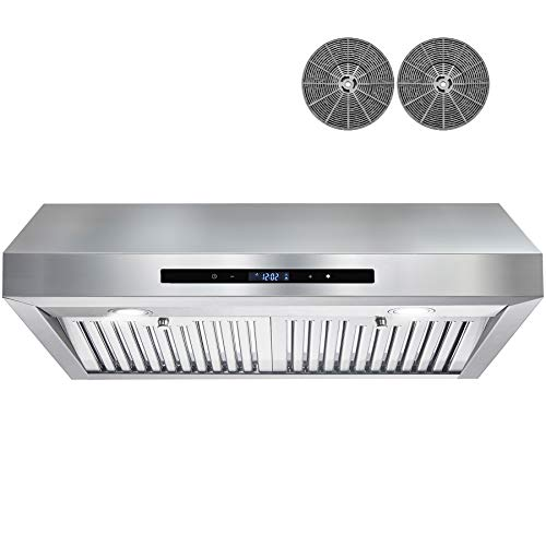 AKDY 350 CFM Ducted Under Cabinet Range Hood in Stainless Steel with Touch Control,LEDs and Carbon Filters (30 in.)