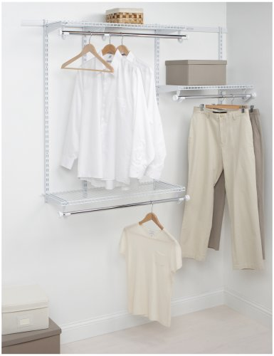 Rubbermaid Configurations Classic Closet Kit, White, 3-6 Ft., Wire Shelving Kit with Expandable Shelving and Telescoping Rods, Custom Closet Organization System, Easy Installation