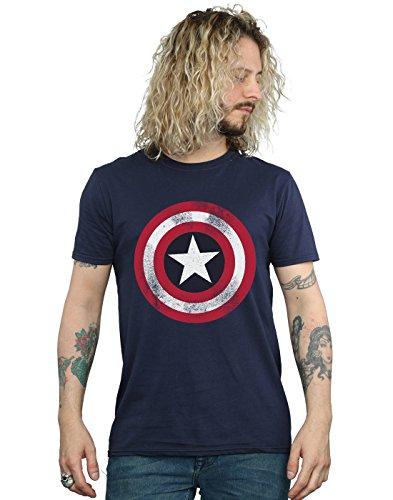 Offizielles T-Shirt Captain America Shield, Used-Optik, alle Größen