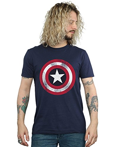 Marvel Herren T-Shirt Captain America Distressed Shield Gr. S, blau