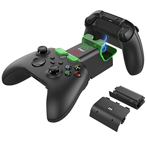 FASTSNAIL Station de Charge LED pour Manette Xbox Series X/S, Double Station de Charge avec 2 x Batteries Rechargeables 1400mAh et 2 x couvercles de Batterie