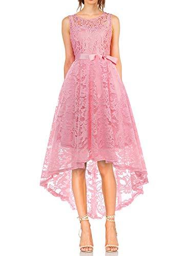 MONYRAY Damen Elegant Schwingendes Kleid aus Spitzen Asymmetrisch Ärmellos Unregelmässig Abendkleider Festlich Cocktailkleider Ballkleid Pinup Rockabilly Party Brautjungfern Kleid Rosa L