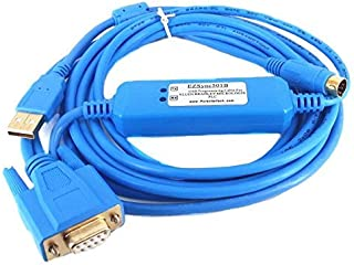 EZSync USB PLC Programming Cable for Allen Bradley Micrologix, Dual RS232 Port(8 pin Mini DIN and DB9), 1761-CBL-PM02 and USB-1747-CP3 Compatible, EZSync501B