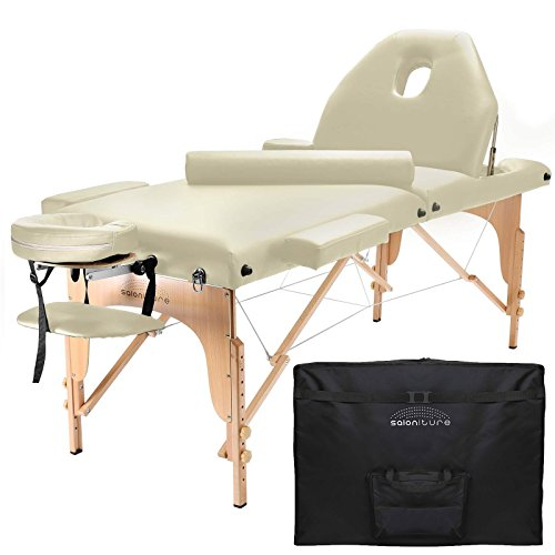 Saloniture Professional Portable Massage Table with Backrest - Cream